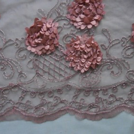 Embroidered Tulle PINK FLOWER