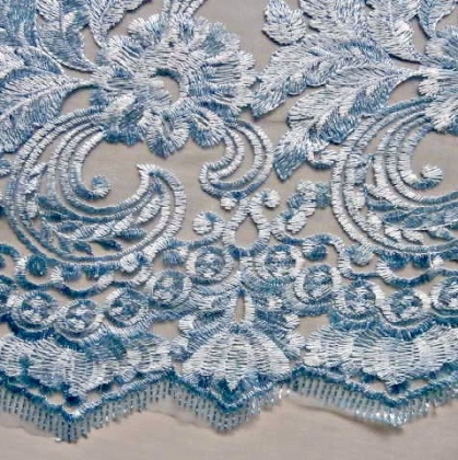 Heavily Embroidered Tulle PALE BLUE