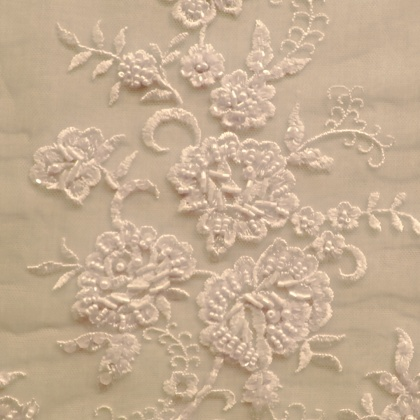 Ornate Beaded Tulle MEDIUM FLOWER IVORY