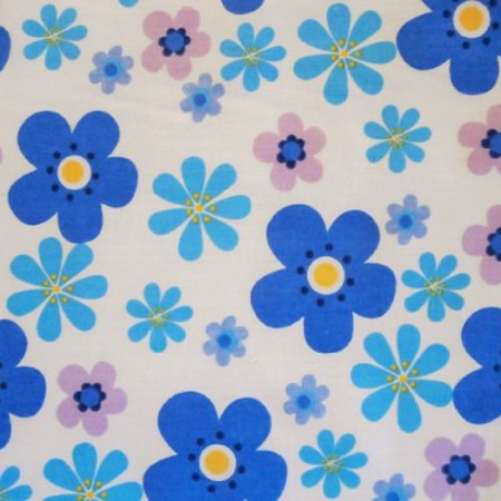 Poly Cotton Flowers FUNKY BLUE