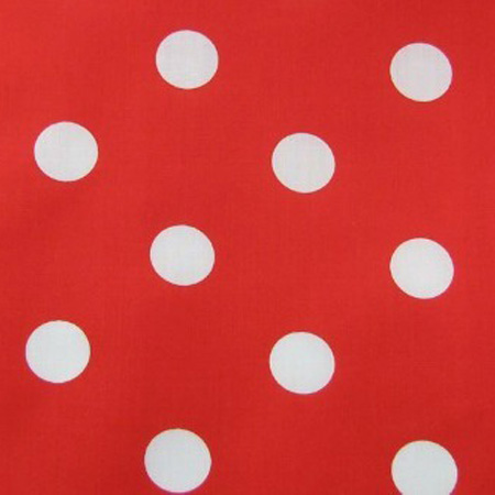 Poly Cotton Spots WHITE ON RED