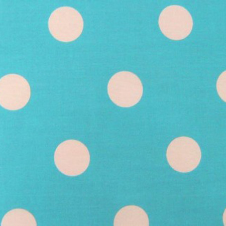 Poly Cotton Spots WHITE ON TURQUOISE