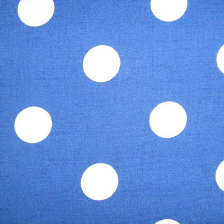 Poly Cotton Spots WHITE ON BLUE
