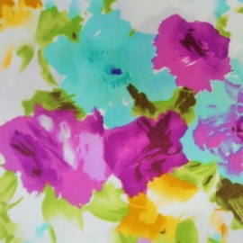 Cotton Print ABSTRACT FLOWER AQUA