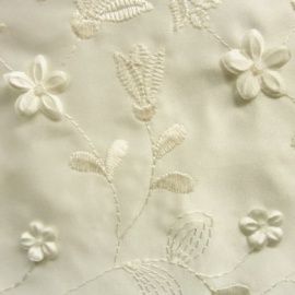 Embroidered Duchess Satin 3D Flower IVORY