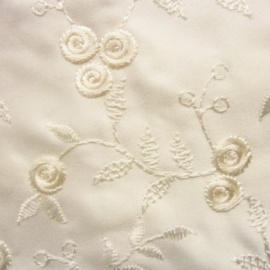 Embroidered Duchess Satin Small Flower IVORY