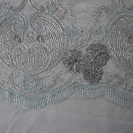 Embroidered Tulle SILVER / AQUA