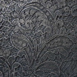 Foiled Vintage Lace BLACK SILVER