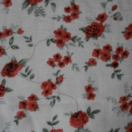 Poly Viscose Print RED FLOWERS