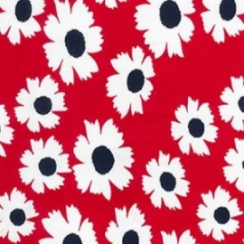 Stretch Cotton Print RED FLOWER