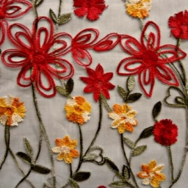 Spring Flower Embroidered Tulle RED / GREEN