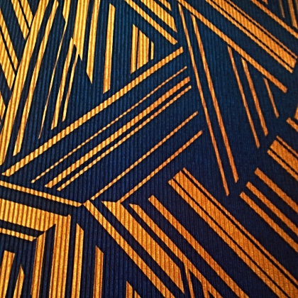 Abstract Pleated Polyester NAVY / OCHRE