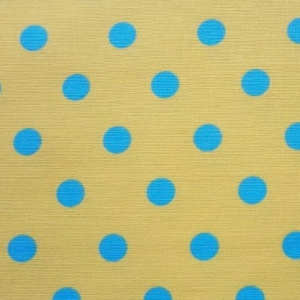 Cotton Canvas Print POLKA YELLOW BLUE