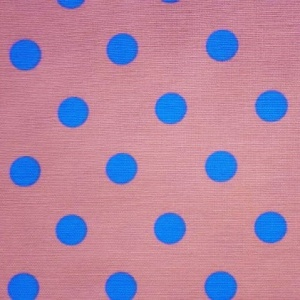 Cotton Canvas Print POLKA PINK BLUE