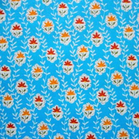Cotton Print STEM TURQUOISE