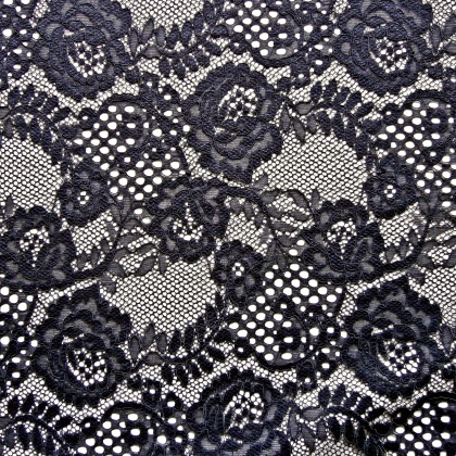Corded Rose Flower Lace NAVY