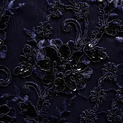 Embroidered Corded Sequin Tulle NAVY