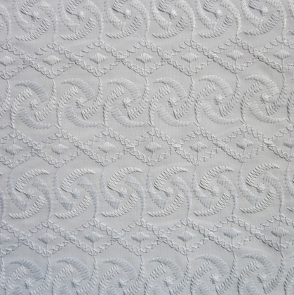 Embroidered Poly Cotton WHITE SWIRL