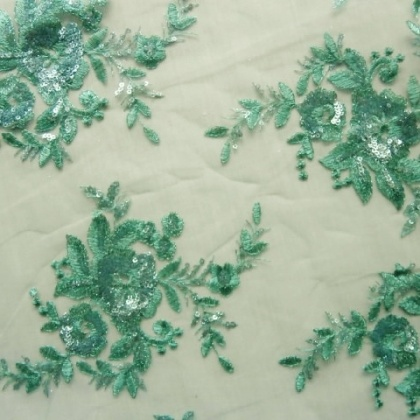 Embroidered Sequin Tulle ICE GREEN
