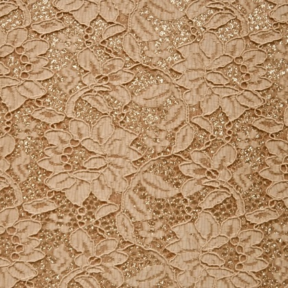 Glitter Satin Backed Lace NUDE