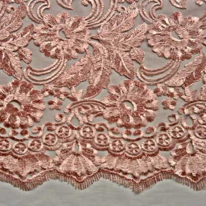 Heavily Embroidered Tulle DUSKY ROSE