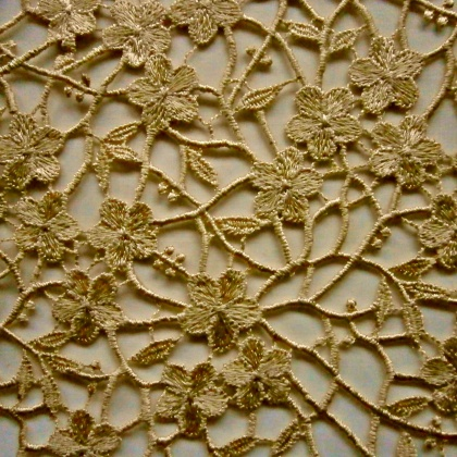 Ornate Guipure Flower Lace CHAMPAGNE