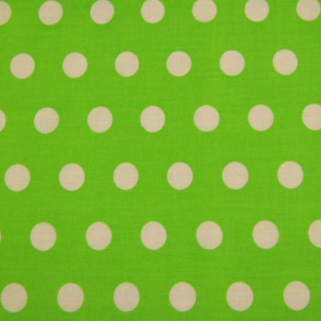 Poly Cotton Spots WHITE ON LIME