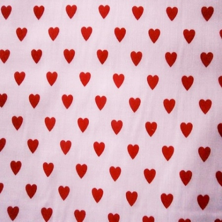 Poly Cotton HEARTS RED / WHITE