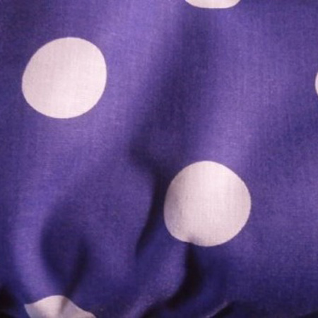 Poly Cotton Spots WHITE ON PURPLE