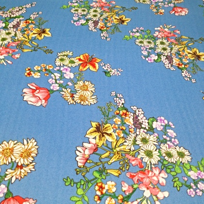Printed Poly Chiffon Georgette BLUE WILDFLOWER