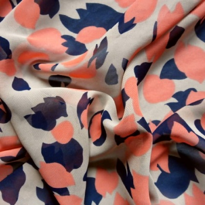 Printed Poly Chiffon Georgette BLUE / CORAL