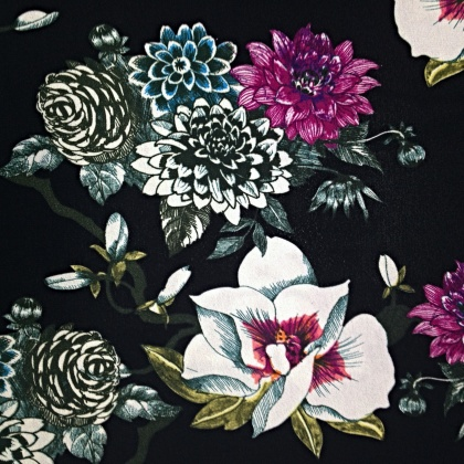 Printed Poly Chiffon Georgette BLACK FLOWERS