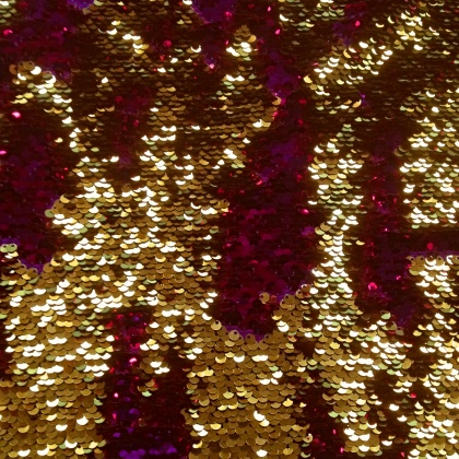 Reversible Fishscale Sequin CERISE / GOLD
