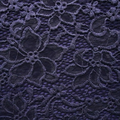 Stretch Ornate Flower Lace MIDNIGHT BLUE