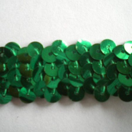 Stretch Sequin Trim Plain EMERALD