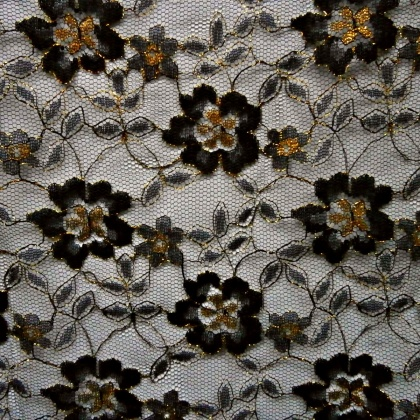 Tulle Lace Metallic Flower  BLACK GOLD