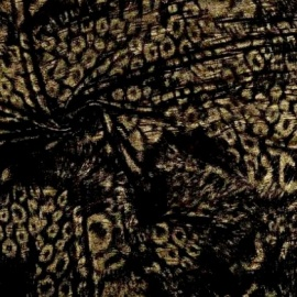 Animal Print Textured Foil Chiffon BLACK GOLD