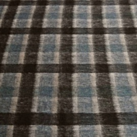 Brushed Wool Mix Check BLUE / BLACK