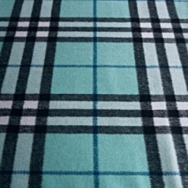 Brushed Wool Mix Check AQUA / BLACK
