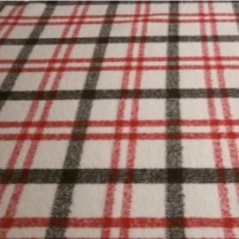 Brushed Wool Mix Check IVORY / BLACK / RED