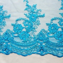 Cord Flower Sequin Tulle TURQUOISE