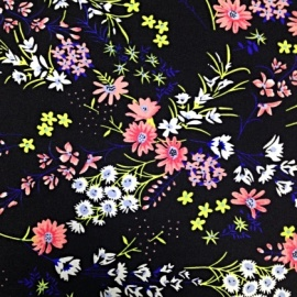 Chiffon with Stretch BLACK / SPRING FLOWERS