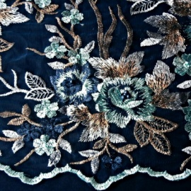 Embroidered Beaded Tulle NAVY AQUA GOLD