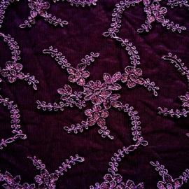Embroidered Corded Tulle AUBERGINE
