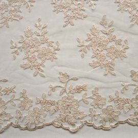 Embroidered Tulle IVORY CHAMPAGNE SILVER