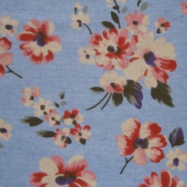 Lightweight Denim Print FLOWERS PINK