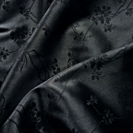 Lightweight Floral Stretch Jacquard Satin BLACK