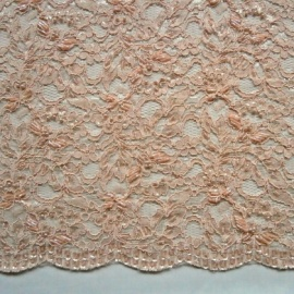Ornate Bead and Sequin Corded Lace PINK BLUSH