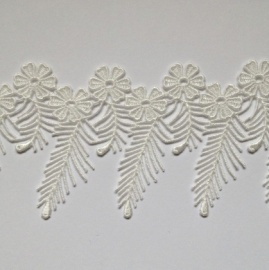 Ornate Flowers and Ferns Edging Trim IVORY