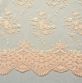 Ornate Lace Tulle PEACH MELBA